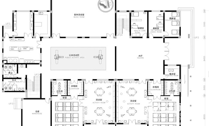 项目介绍:本案咸宁市咸安区南大街10,规划设置12个班级,幼儿园设计图片